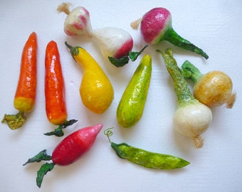 Fake Food Vegetables 11 pieces Large Colorful Display Props Kitchen