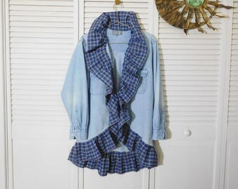 Upcycled Denim Shirt Boyfriend Mens Size Large redesigned ruffle uneven hem womens plus size xl boho hippie cardigan repurposed country chic