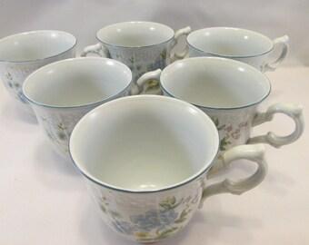 Mikasa Precious Blue Michelle Coffee/Tea  Cups