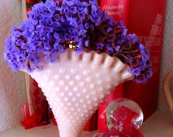 Fenton glass fan vase, vintage fenton, classic Fenton, small antique vase, fan shaped vase, vintage vase, raffled vase, light pink gift vase