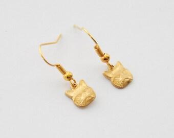 Tiny Cat Earrings, Gold Cat Earrings, Vintage Cat Earrings, Cat Jewelry, Cat Lady Gifts, Cat Lover Gifts, Kitten Earrings, Valentine's Gift