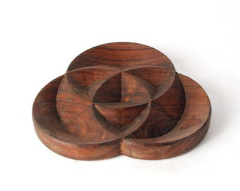 "Trinity - 6"" Carved Wooden Dish"