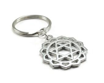 Chakra Key Chain, Heart Chakra Keychain, Anahata Keychain, Silver Metal Key Chain