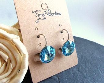 Large blue crystal drop earrings, Swarovski Elements single crystal earrings, surgical steel earrings, 14mm rivoli, aquamarine leverback