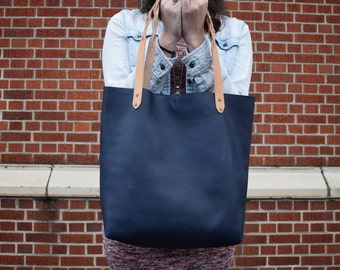 Navy Leather tote bag, Boho Leather purse, Blue Leather Carryall