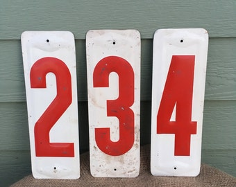 Metal number signs gas station white red set two three four embossed vintage retro price 2 3 4 lot signs man cave salvage service industrial