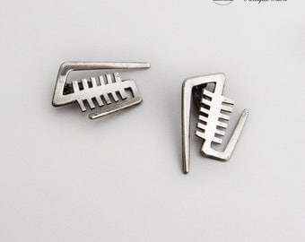 Danish Whimsical Abstract Clip On Earrings Sterling Silver