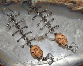 Badass Sterling Silver Carved Bone Skull Herkimer Diamond Dangle Statement Earrings