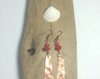 coral dangle earrings, abalone shell earrings, hammered silver earrings, pearl earrings