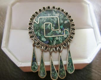 Vintage Sterling Silver Taxco Mexico Piece Brooch/Inlaid Turquoise and Silver Brooch/Teardrop Silver Brooch