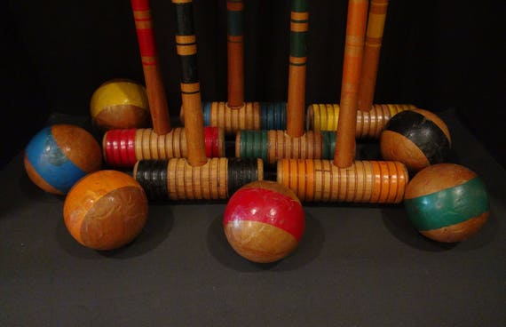 Vintage Croquet Set / Vintage Croquet Mallets and Balls