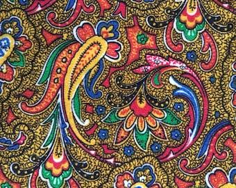 60s Vintage Paisley print cotton velvet fabric