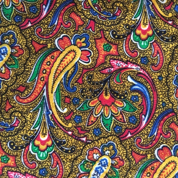 60s Vintage Paisley Print Cotton Velvet Fabric 2 25 Metres