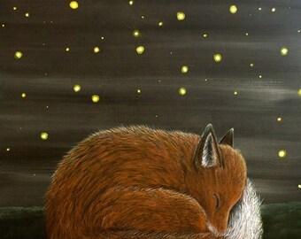 Sleeping by Firelight ~ Fox and Fireflies Archival Art Print