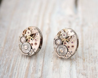 Stud Earrings/ Steampunk Jewelry Silver Earring studs/ Unique Gifts for Geeks/ Watch Movement Earrings/ Birthday Gifts for Wife
