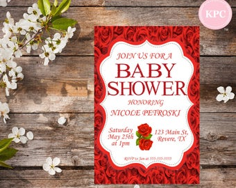 SALE!!! Red roses baby shower invitation. Red roses baby shower. Baby shower invitation. Red roses invitation. Red baby shower