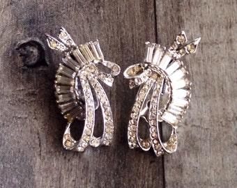 Clip Earrings - Vintage Clear Crystal Wedding Earrings Clip On Costume Jewelry