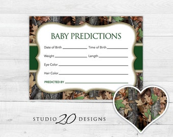 Instant Download Camo Prediction for Baby Cards, Printable Baby Boy Camo Predictions, Green Realistic Hunters Camo Baby Shower Games 31C