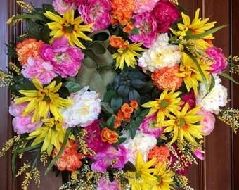Summer Front Door Wreath, Front Door Wreath, Wreaths for Front Door, Summer Wreaths, Peony Wreath, Daisy Wreath, Spring & Summer Wreaths