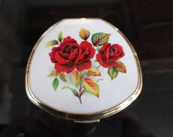 Vintage Stratton compact Red rose design top signed on base Stratton England