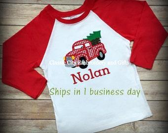 Boy Christmas truck shirt, boy Christmas tree shirt, boy monogrammed Christmas, Christmas raglan, toddler Christmas outfit