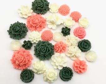 30 resin cabochon flowers ,11mm to 23mm #FL 005
