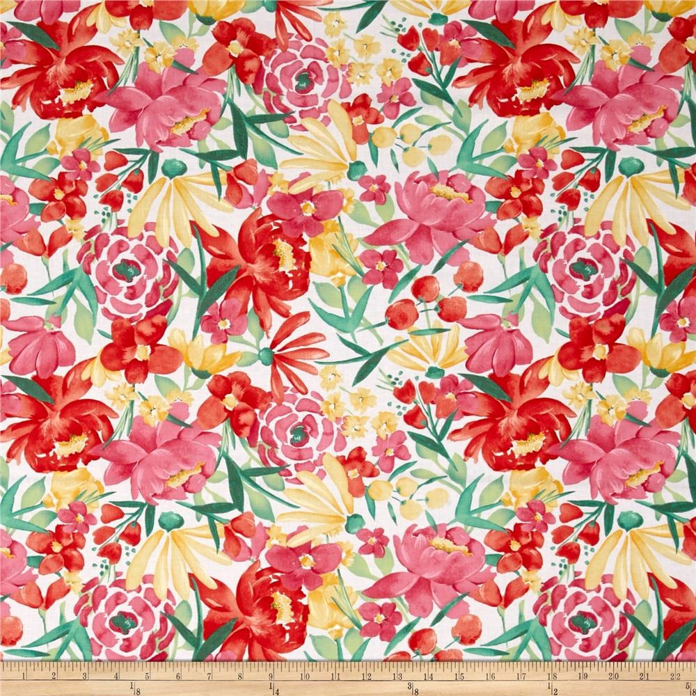 Floral fabric by the yard quilting cotton nursery for Floral nursery fabric