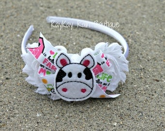 Life Is Better On The Farm Satin Lined Headband - Girls Headband - Farm Life Headband - Cow Headband - Satin Lined Headband - Farm Theme