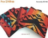 25% OFF Pre Black Friday Southwest Pattern Wool Drink Coasters Orange red black yellow blue  Matching set of 4 R-5