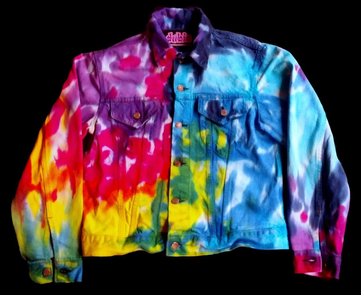 spiral tie dye jean jacket levis by dubietiedyeandhemp on etsy