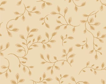 108 inch Tan and Brown Vines Leaves Half Yard Wide Backing Quilt Fabric Henry Glass