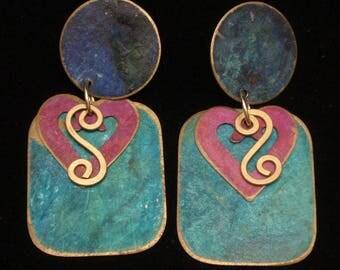 Large Lightweight Drop Earrings Vintage