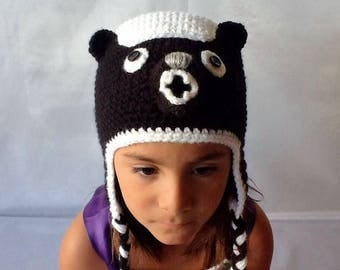 Hat. Honey Badger Hat For  Children. Hand Crocheted Honey Badger Hat.