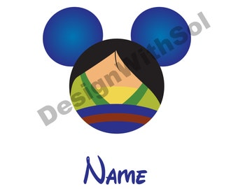 Mulan Ears customized with name of your choice available as file to print on iron on transfer paper