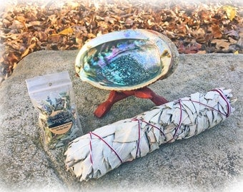 """White Sage Smudge Wand 8"""", with Abalone Shell, Stand, and FREE sample blend"""