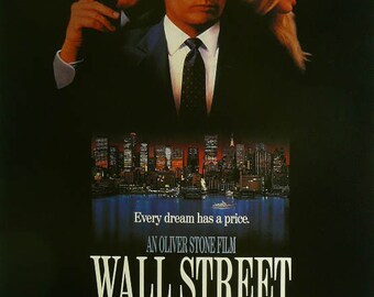 """Wall Street - Michael Douglas / Charlie Sheen - Movie Poster Framed Picture 11""""x14"""""""