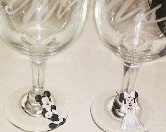 Customizable disney bridal Mickey and Minnie wedding wine charms (set of 2)