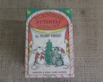 Nutshell Library by Hilary Knight, Harper and Row Publishers 1963, Vintage Nutshell Library Set of Christmas Books, Nutshell Library 1963,