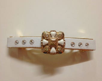 Designer inspired handmade barrette with auth Chanel button