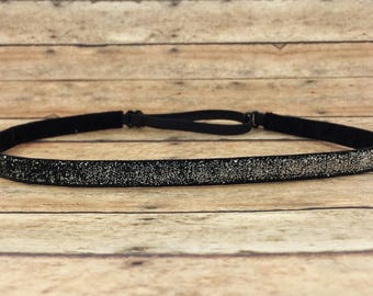 "Skinny Sparkle Non Slip Headband - Glitter Gift - Workout Headband - Adjustable Running Headband - Gift for Her  || 3/8"" black and silver"