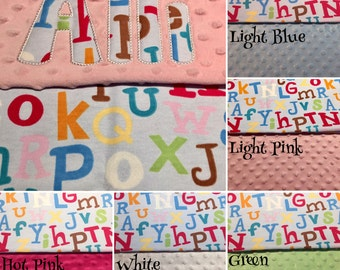 """Baby Boy OR Girl Alphabet Minky Blanket with Appliqued Name 30""""x36"""""""