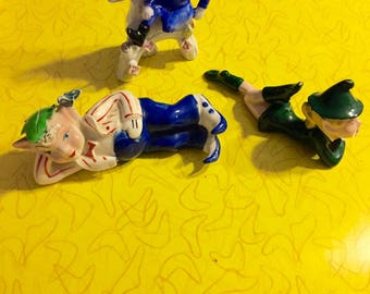 3 Collectible Fairy Leprechaun Imps Ceramic Pottery Munchkin Elfs/ Fantasy Art Home Decor Figurines/ Boho Rockabilly Kitschy KNick Knacks