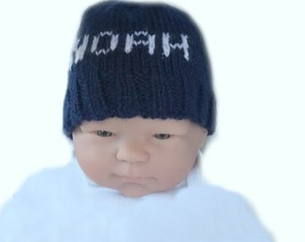 Personalized baby hat, newborn hospital hat, hand knit baby hat, monogram baby hat, knit baby beanie hat, photo shoot baby hat, infant cap