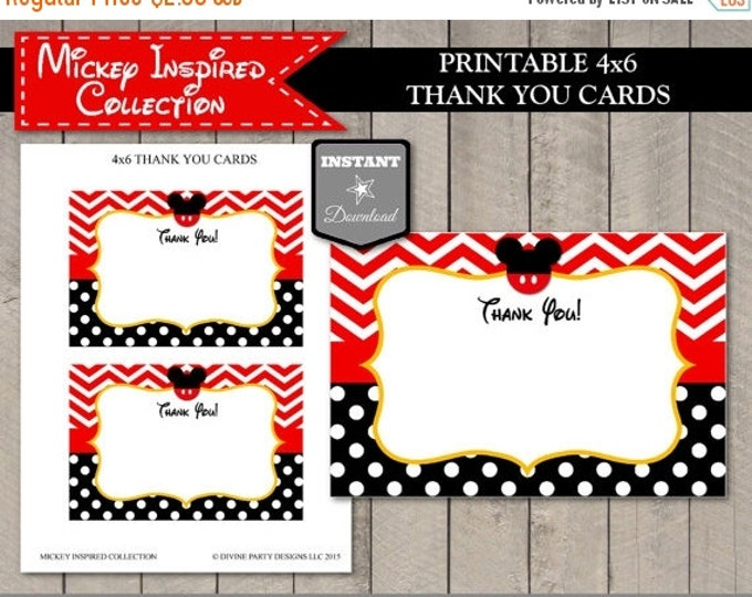 SALE INSTANT DOWNLOAD Mouse 4x6 Thank You Cards / Printable Diy / Birthday Party / Mouse Classic Collection / Item #1557