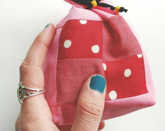 Pink Pouch with Red Checkerboard Detail