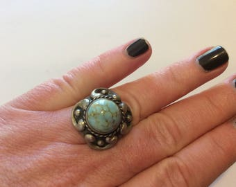 Antique 800 silver art glass turquoise ring