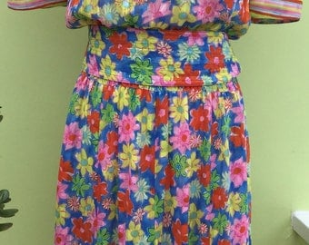 Vintage 1980's Vibrant Floral Dress
