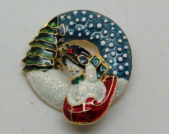 I26: Vintage Trembler Snowman on Sleigh Christmas Wreath pin