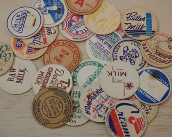 "Vintage Cardboard Milk Caps. 1.75"" Paper, scrap booking, card making, found object retro rockabilly"