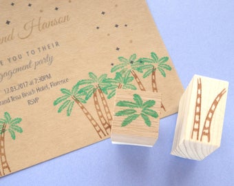 Palm tree rubber stamps wedding decoration kit, Japanese stationery, Summer vacation holiday card
